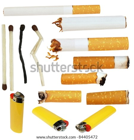 Big Collection cigarette butts, cigarette, matches, lighters, isolated on white background, textures (high resolution) - stock photo