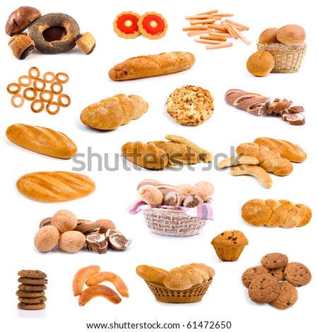 Big collection of bread isolated on white background - stock photo