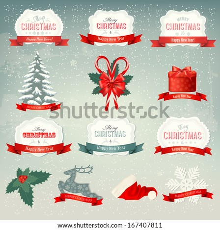 Big collection of Christmas icons and design elements. Raster version  - stock photo