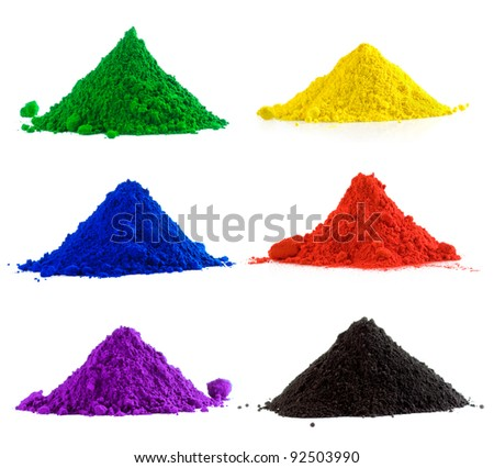 Big collection of colorful powder - yellow, red, black, green, blue, violet - stock photo