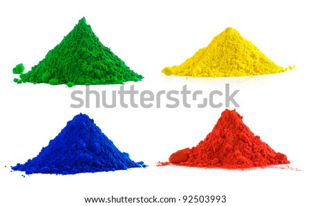 Big collection of colorful powder - yellow, red, green, blue - stock photo