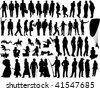 Big collection of different silhouettes people - stock vector