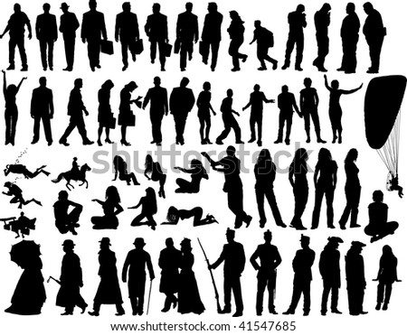 Big collection of different silhouettes people