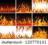 Big collection of fire elements.  Raster version. - stock vector