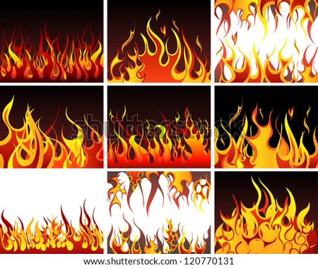 Big collection of fire elements.  Raster version. - stock photo