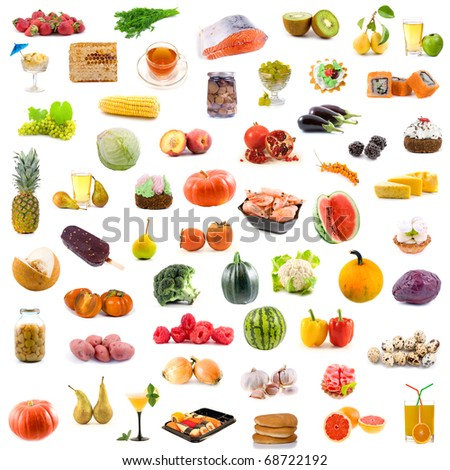 Big collection of food on white background - stock photo