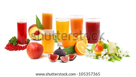 Big collection of fresh fruit drinks on white background - stock photo