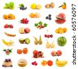 Big collection of fruits on a white background - stock photo