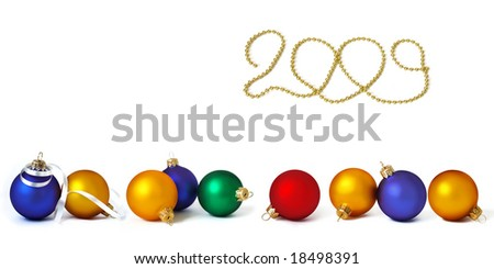 Big collection of holiday spheres isolated on white - stock photo