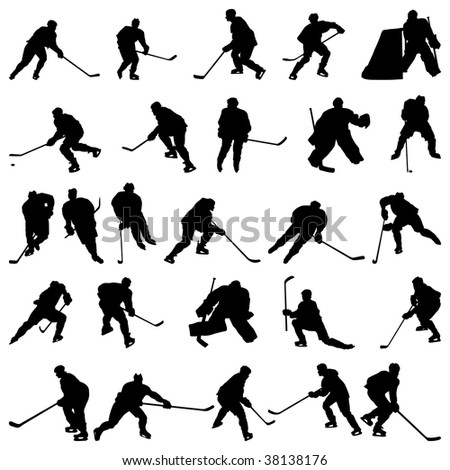 Big collection of  ice hockey players silhouettes - stock photo