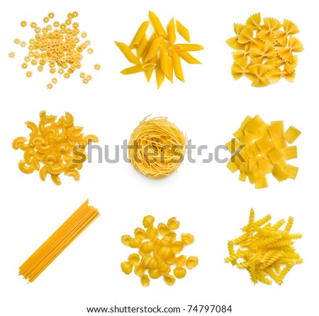 Big collection of italian pasta isolated on white background - stock photo