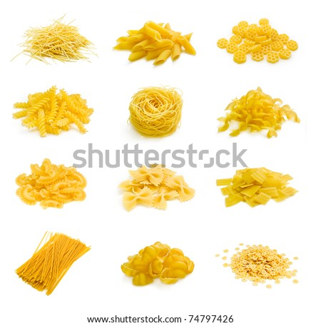 Big collection of italian pasta portion isolated on white background - stock photo