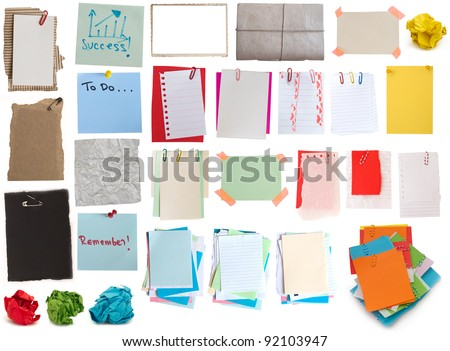 big collection of notes - stock photo