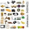 Big collection of objects isolated on white background - stock photo