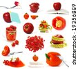 Big collection of red fruits and vegetables isolated - stock photo