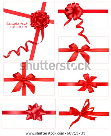 Big collection of red gift bows. Raster version of vector.