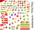 Big Collection Of Sale Elements, Isolated On White Background - stock vector