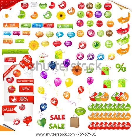 Big Collection Of Sale Elements, Isolated On White Background - stock photo