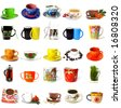 Big collection of  tea mugs and coffee cups isolated on a white background - stock