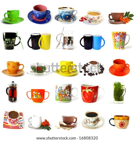 Big collection of  tea mugs and coffee cups isolated on a white background - stock photo