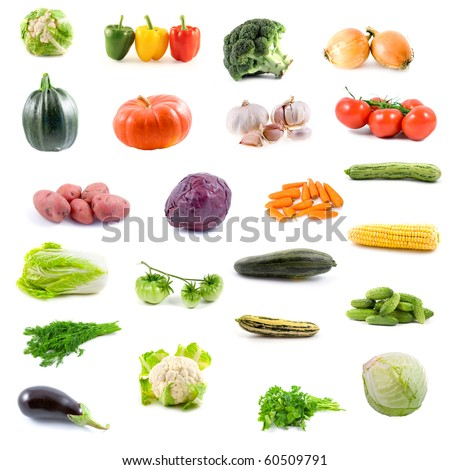 Big collection of vegetables on a white background - stock photo