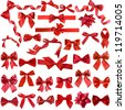 Big collection set of red gift ribbon bows close up isolated on white background - stock photo