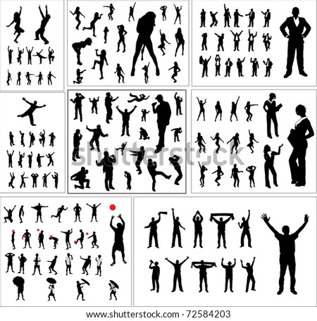 Big collection silhouettes people - stock photo