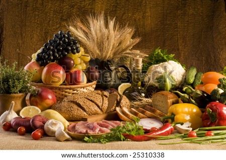 Big collection with food, fruits and vegetables - stock photo