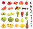 Big collection with lots fruits on white . - stock photo