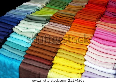 Big color palette spectrum of scarves textile