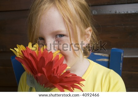 big colored flowers for a lovely girl - stock photo