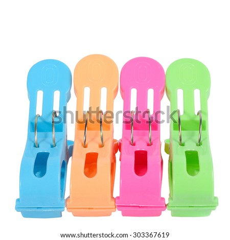 Big colorful clothespin isolated on white background with clipping path - stock photo