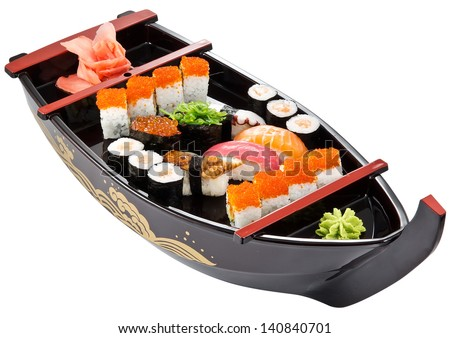 big colorful sushi set. isolated on white background - stock photo
