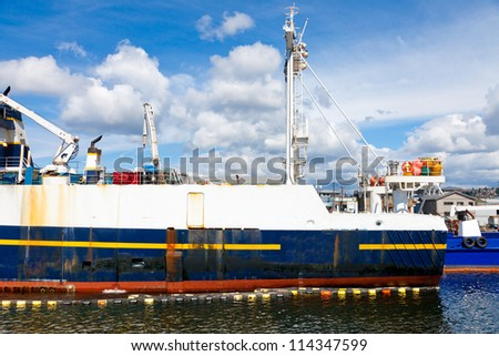 Big commercial fishing boat docked in the Ship Canal in Seattle, WA - stock photo