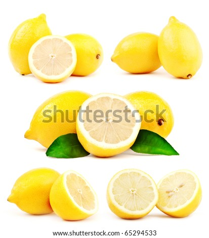 Big compilation of lemon with green leaf - stock photo