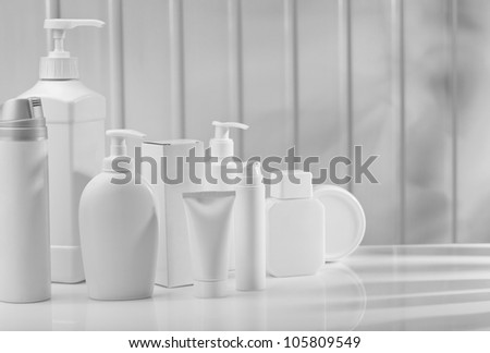 big composition of skincare items - stock photo