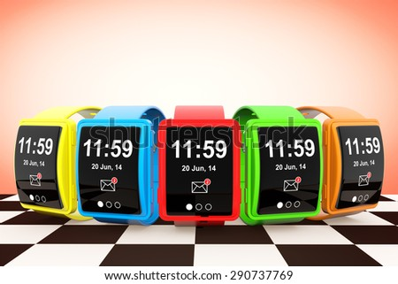 Big Conceptual Multicolour Smart Watches on a chessboard background - stock photo