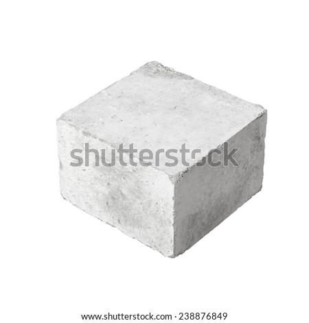 Big concrete construction block isolated on white background - stock photo