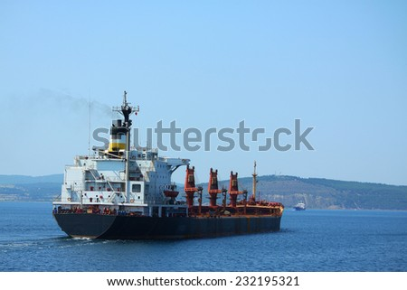 big container ship in Dardanelles strait, Turkey