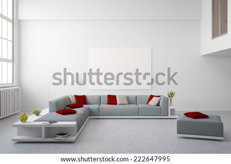 Big couch furniture in living room of bright modern loft - stock photo