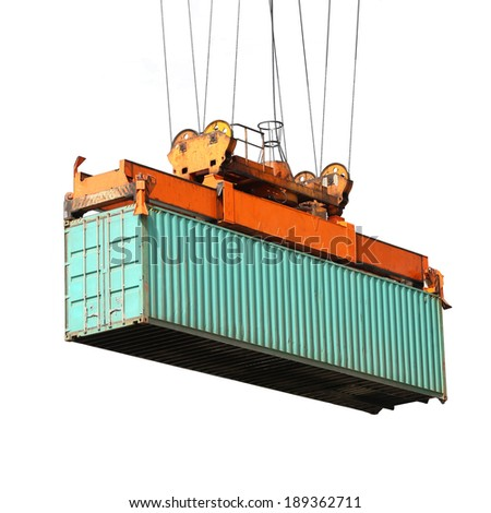 big crane  holding container box isolated on white - stock photo