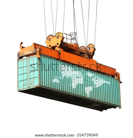 big crane  holding container box  with world map on the box ,export all  around the world concept.(Elements of this image furnished by NASA)  - stock photo