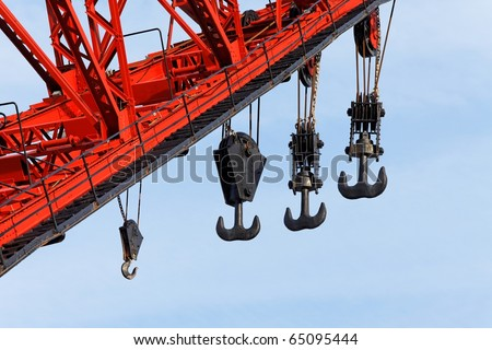 Big crane in an industrial port - stock photo