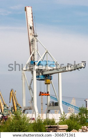 big crane in the sea port - stock photo