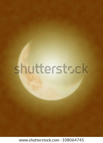 big crescents moon in gold star background - stock photo