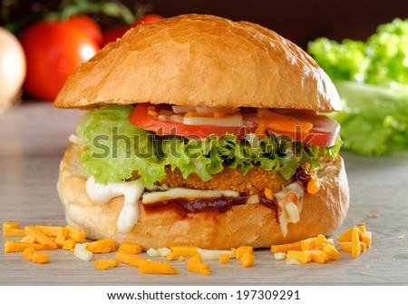 BIG crispy Chicken Burger  - stock photo