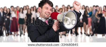 Big crowd of business people and young businessman foreground. Isolated over white background - stock photo