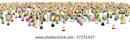 Big crowd of small symbolic 3d figures, over white, isolated - stock photo