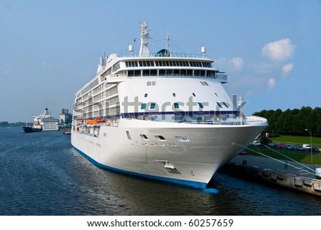 Big cruise ship at port - stock photo