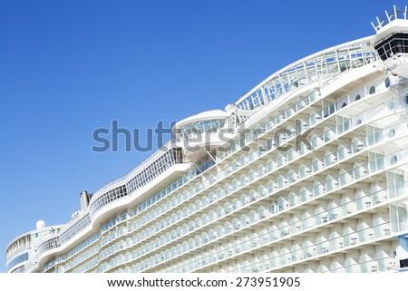 Big cruise ship detail. - stock photo